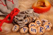 picture of thor  - Runes with pouch and candle on the fur
