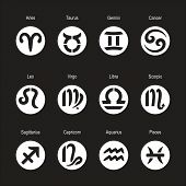 Collection Of Zodiac Signs. Icons Of Aries, Taurus, Leo, Gemini, Virgo, Scorpio, Libra, Aquarius, Sa poster