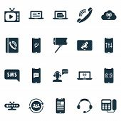 Connection Icons Set With Selfie Stick, Greeting Male Operator, Tablet Connection And Other Old Tele poster