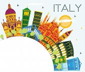 Italy City Skyline with Color Landmarks and Copy Space. Business Travel and Tourism Concept with His poster