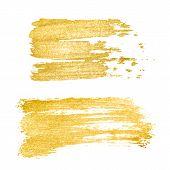 Vector Golden Brush Stroke, Brush, Line Or Texture. Hand Drawn Brush Stroke Design Element, Box, Fra poster