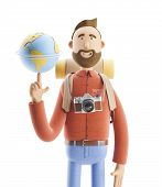 Concept Of Traveling. 3d Illustration. Cartoon Character Tourist Stands With A Large Map Pointer And poster
