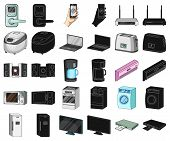 Smart Home Appliances Cartoon, Black Icons In Set Collection For Design. Modern Household Appliances poster