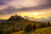 Sunset Over The Ruins Of Spis Castle In Slovakia.  Spis Castle Is A National Monument And One Of The poster