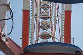 Fragment A Colourful Ferris Wheel. Ferris Wheel On A Bright Sunny Day. Brightly Colored Ferris Wheel poster