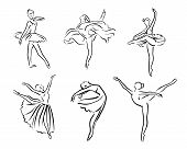 Artistic Hand Drawn Pictures Set Of Theatre Theme. Ballerinas Dancing. Ballerina Dancer With Tutu, P poster