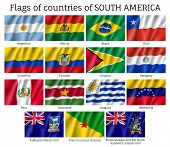 National Countries Flags Of South America Continent. Ecuador, Argentina, Bolivia, Brazil, Chile, Col poster