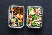 Office Sweet And Savory Food Lunch Box. Pasta, Tuna, Spinach, Avocado Salad And Fruit, Peanut Butter poster