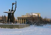 foto of novosibirsk  - winter view on novosibirsk opera and ballet theater - JPG