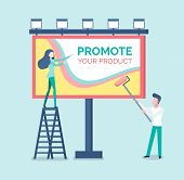 People Painting Advertisement On Billboard Vector. Man And Woman Standing On Ladder And Using Tools, poster