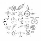 Fly Voyage Icons Set. Outline Set Of 25 Fly Voyage Vector Icons For Web Isolated On White Background poster