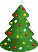 image of xmas tree  - vector 3d looking Xmas Tree with ornaments - JPG