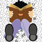 VECTOR - A Student Setting on the Ground Studying English Language Book to get Distinction & High Ma
