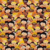 VECTOR - Kiddy Background - Kindergarten Smart Boys & Cute Girls Faces - Back to School Wrapper - Ha