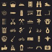 Camping Adventure Icons Set. Simple Style Of 36 Camping Adventure Vector Icons For Web For Any Desig poster