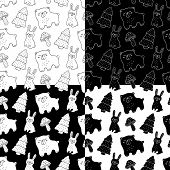 Cute Cartoon Forest Animal Pattern Set With Hand Drawn Bear, Bunny, Amanita And Christmas Tree. Swee poster