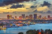 Fort Lauderdale, Florida, USA skyline and river at dusk. poster