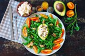 Healthy Fitness Salad With Arugula, Avocado, Feta And Yellow Cherry Tomatoes. Recipe For Salad With  poster
