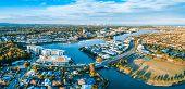 Varsity Lakes Suburb Luxury Real Estate At Sunset. Gold Coast, Queensland, Australia - Aerial Panora poster