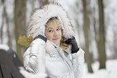 Woman In A Furry Furry Hood.plain Woman In A White Jacket With A Fluffy Hood poster