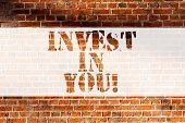 Handwriting Text Writing Invest In You. Concept Meaning Take Care Of Yourself Buy Things For You Mot poster