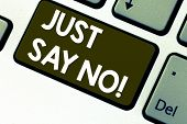 Text Sign Showing Just Say No. Conceptual Photo Do Not Be Afraid Of Giving Negative Answers To Some  poster