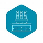Large Oil Refinery Icon. Outline Illustration Of Large Oil Refinery Vector Icon For Web poster