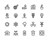Ecology Line Icons. Eco Nature Green Environment Green Water Solar Wind Energy Earth Climate Waste R poster