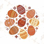 The Circular Template Of Colorful Easter Egg Vector Flat Icons Painted In Traditional Style. Eggs Is poster