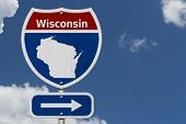 Road Trip To Wisconsin, Red, White And Blue Interstate Highway Road Sign With Word Wisconsin And Map poster