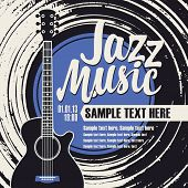 Vector Poster Or Banner With Calligraphic Inscription Jazz Music With Vinyl Record, Guitar And Place poster