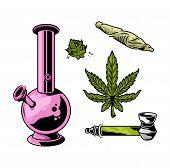 Set Cannabis Elements Devices For Smoking Marijuana Leaves Weed Hemp Lighter Smoking Tube Bong Joint poster