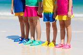 Kids Beach Shoes. Children Summer Sea Footwear. poster