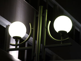 image of lamp post  - Two cold lamps on a mast of city illumination at night - JPG