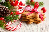 stock photo of holly  - Christmas cookies with festive decoration - JPG
