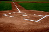 image of infield  - Baseball infield with the batters box and home plate - JPG
