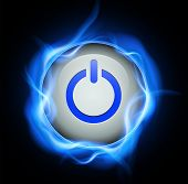 pic of voltage  - Power button and high voltage energy - JPG