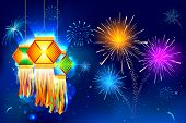 image of diwali lamp  - illustration of hanging lantern with firework in diwali night - JPG