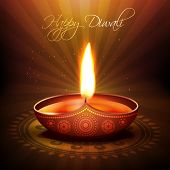 pic of diwali  - beautiful diwali diya vector background - JPG