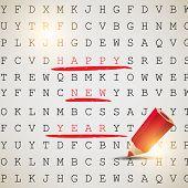 Постер, плакат: С Новым годом Текст выделены с красным карандашом Векторный фон