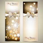 image of bowing  - Greeting cards with white  bows and copy space - JPG
