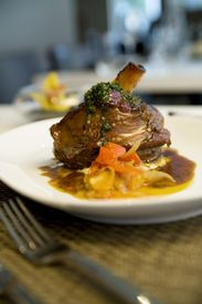 image of lamb shanks  - Braised Lamb Shank With Gremolata And Sweet Bell Pepper Ragout - JPG