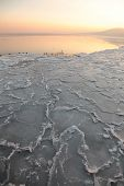 Sunset On The Sea - Ice - Floe. Poland, Gdynia