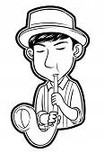 pic of saxophone player  - saxophone player editable  - JPG