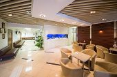 foto of reception-area  - Beautiful large reception of business company with tables - JPG