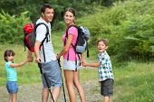 Family on a trekking day in countryside