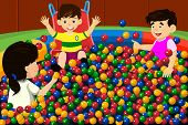 image of pool ball  - A vector illustration of happy kids playing in a ball pool - JPG