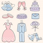 stock photo of ring-dove  - Doodle Wedding Elements - JPG