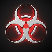 pic of biological hazard  - Biohazard symbol with backlight effect on the black background - JPG