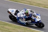 26 Sept 2009; Silverstone England: Rider number 7 James Ellison (GBR) riding for Airwaves Yamaha  du